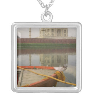 Canoe in water with Taj Mahal, Agra, India Silver Plated Necklace