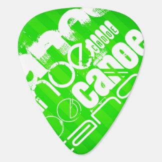 Canoe; Neon Green Stripes Guitar Pick