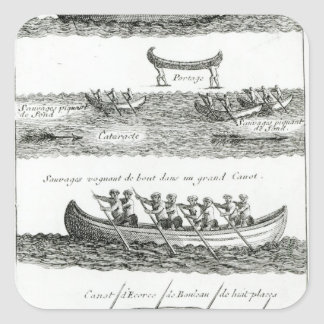 Canoe of the Iroquois Square Sticker