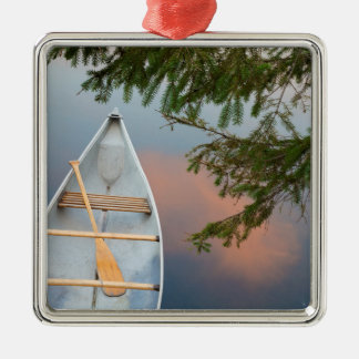 Canoe on lake at sunset, Canada Silver-Colored Square Decoration
