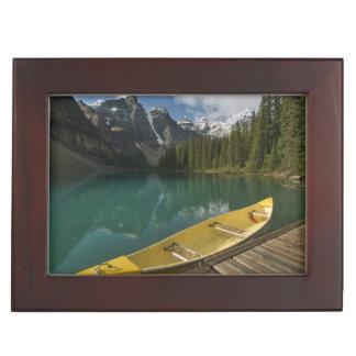 Canoe parked at a dock along Moraine Lake, Banff Keepsake Box
