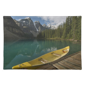 Canoe parked at a dock along Moraine Lake, Banff Placemat