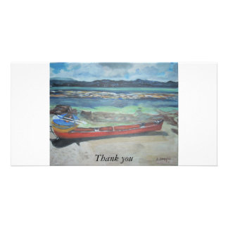 Canoe & Raft on Shell Island, Thank you Personalized Photo Card