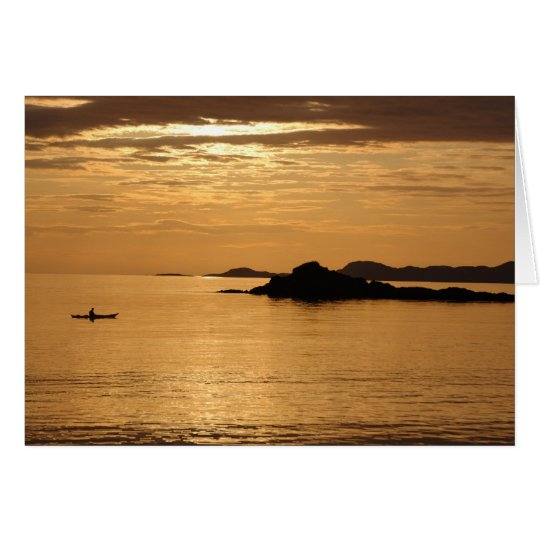 Canoe sunset at Arisaig Card
