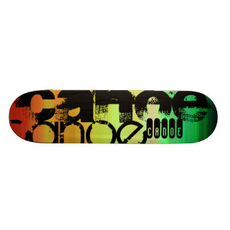 Canoe; Vibrant Green, Orange, & Yellow 21.3 Cm Mini Skateboard Deck