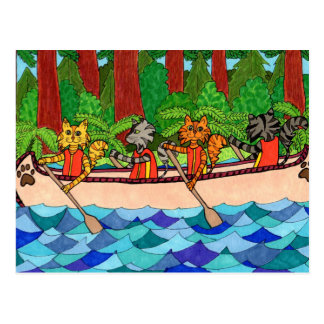 Canoeing Cats Postcard