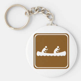 Canoeing Highway Sign Key Ring