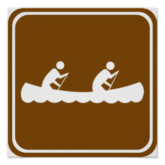 Canoeing Highway Sign Posters