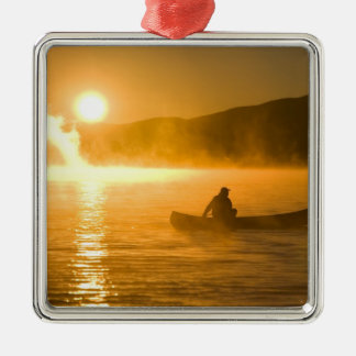 Canoeing in Lily Bay at sunrise, Moosehead Lake, Christmas Ornament