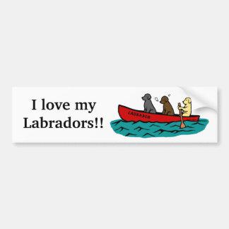 Canoeing Labrador Retrievers Bumper Sticker