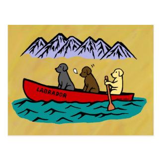 Canoeing Labrador Retrievers Postcards