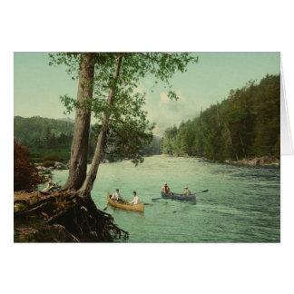 Canoeing on an Adirondack Mountain Stream Greeting Card