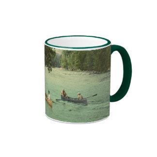 Canoeing on an Adirondack Mountain Stream Ringer Mug