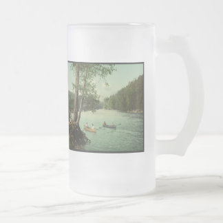 Canoeing on an Adirondack Mountain Stream Frosted Glass Mug