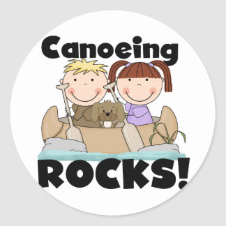 Canoeing Rocks Two Tshirts and Gifts Classic Round Sticker