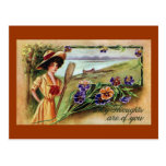 Canoeing Woman and Pansies Postcard