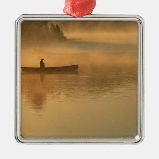 canoeist, Algonguin Park, Ontario, Canada. Silver-Colored Square Decoration