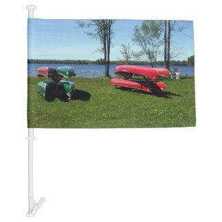 Canoes on a Beach Car Flag