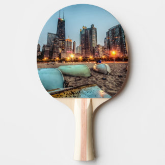Canoes on Oak Street Beach a little after sunset Ping Pong Paddle