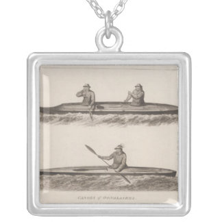 Canoes, Oonalashka, Alaska Silver Plated Necklace