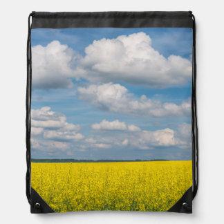 Canola Field & Clouds Drawstring Bag