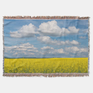 Canola Field & Clouds Throw Blanket
