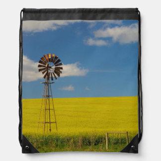 Canola Field, Near Bredarsdorp, Western Cape 2 Drawstring Bag