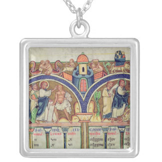 Canon of the Evangelists detail depicting Silver Plated Necklace