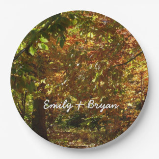 Canopy of Fall Leaves II Yellow Autumn Photography Paper Plate
