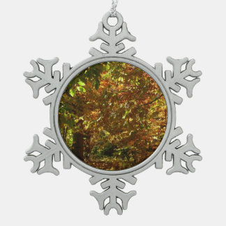 Canopy of Fall Leaves II Yellow Autumn Photography Pewter Snowflake Decoration
