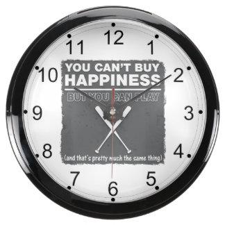 Can't Buy Happiness Baseball Aqua Clocks
