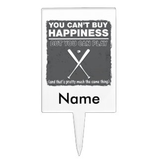 Can't Buy Happiness Baseball Cake Pick