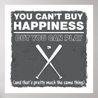 Can't Buy Happiness Baseball Print