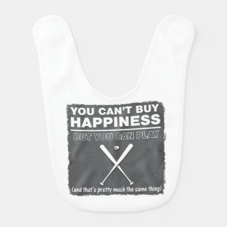 Can't Buy Happiness Baseball Baby Bib