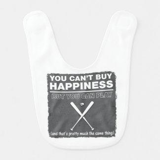 Can't Buy Happiness Baseball Baby Bib