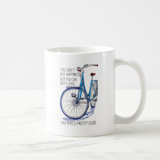 Can't buy happiness, blue bike coffee mug