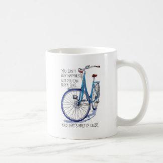 Can't buy happiness, blue bike coffee mug