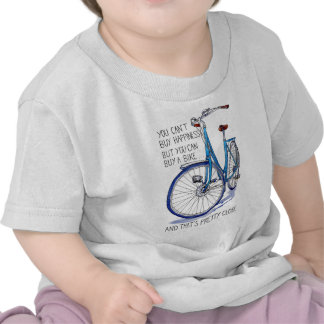 Can't buy happiness, blue bike tshirt