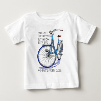 Can't buy happiness, blue bike tee shirt