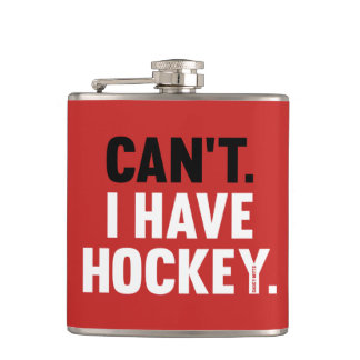 Can't I Have Hockey Funny Excuse Red Hip Flask