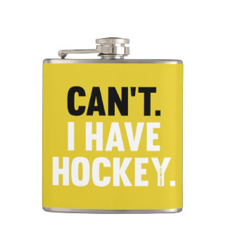 Can't I Have Hockey Funny Excuse Yellow Hip Flask