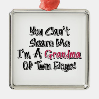 Can't Scare Me Grandma of Twin Boys Cute Quote Christmas Ornament