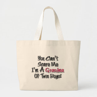 Can't Scare Me Grandma of Twin Boys Cute Quote Tote Bag