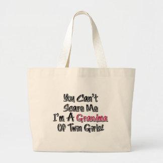 Can't Scare Me Grandma of Twin Girls Cute Quote Jumbo Tote Bag