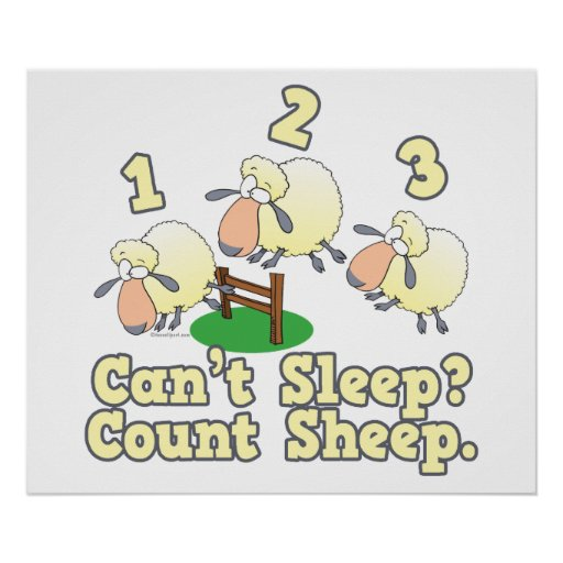 cant sleep count sheep cute cartoon design posters
