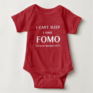 Can't Sleep I Have FOMO White Text Baby Bodysuit