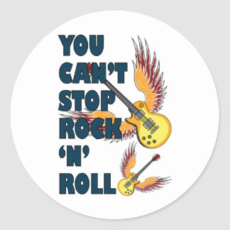 Cant stop rock n roll round sticker