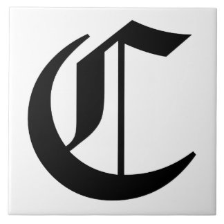 Canterbury Letter C in Black on White Monogram Large Square Tile