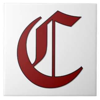 Canterbury Letter C in Red Monogram Tile