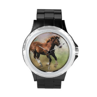 Cantering foal art wrist watches